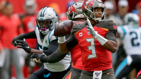 <p>               Tampa Bay Buccaneers quarterback Jameis Winston (3) passes against the Carolina Panthers during the second quarter of an NFL football game, Sunday, Oct. 13, 2019, at Tottenham Hotspur Stadium in London. (AP Photo/Tim Ireland)             </p>