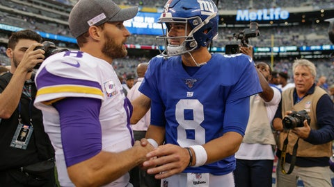 <p>               Minnesota Vikings quarterback Kirk Cousins (8) and New York Giants quarterback Daniel Jones (8) talk after playing each other in an NFL football game, Sunday, Oct. 6, 2019, in East Rutherford, N.J. (AP Photo/Adam Hunger)             </p>