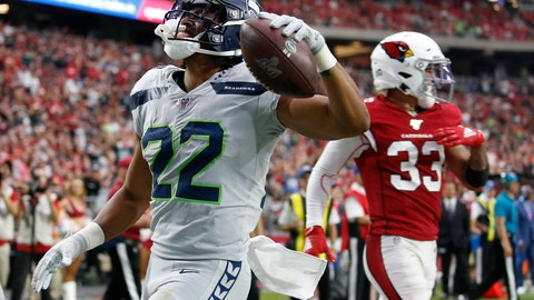 <p>               Seattle Seahawks running back C.J. Prosise (22) scores a touchdown against the Arizona Cardinals during the second half of an NFL football game, Sunday, Sept. 29, 2019, in Glendale, Ariz. (AP Photo/Ross D. Franklin)             </p>