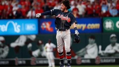 <p>               Atlanta Braves' Dansby Swanson celebrates after hitting an RBI-double during the ninth inning in Game 3 of a baseball National League Division Series against the St. Louis Cardinals, Sunday, Oct. 6, 2019, in St. Louis. (AP Photo/Jeff Roberson)             </p>
