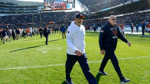 <p>               Chicago Bears head coach Matt Nagy, left, walks off the field after an NFL football game against the Los Angeles Chargers, Sunday, Oct. 27, 2019, in Chicago. The Chargers won 17-16. (AP Photo/Paul Beaty)             </p>