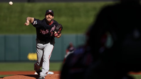 <p>               Washington Nationals starting pitcher Max Scherzer throws during the first inning of Game 2 of the baseball National League Championship Series against the St. Louis Cardinals Saturday, Oct. 12, 2019, in St. Louis. (AP Photo/Jamie Squire, Pool)             </p>