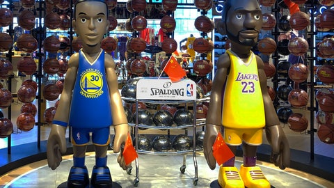 <p>               Statues of NBA players Stephen Curry of the Golden State Warriors, left, and Lebron James of the Los Angeles Lakers hold Chinese flags in the entrance of an NBA merchandise store in Beijing, Tuesday, Oct. 8, 2019. Chinese state broadcaster CCTV announced Tuesday it will no longer air two NBA preseason games set to be played in the country. (AP Photo/Mark Schiefelbein)             </p>
