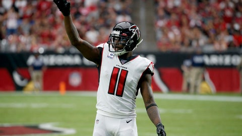 <p>               Atlanta Falcons wide receiver Julio Jones (11) motions during the first half of an NFL football game against the Arizona Cardinals, Sunday, Oct. 13, 2019, in Glendale, Ariz. (AP Photo/Ross D. Franklin)             </p>