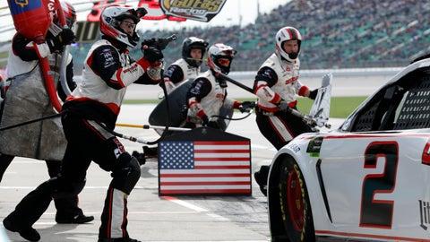 <p>               Brad Keselowski (2) pits during a NASCAR Cup Series auto race at Kansas Speedway in Kansas City, Kan., Sunday, Oct. 20, 2019. (AP Photo/Colin E. Braley)             </p>