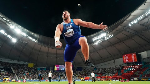 <p>               Joe Kovacs, of the United States, competes in the men's shot put final to win the championship record for gold at the World Athletics Championships in Doha, Qatar, Saturday, Oct. 5, 2019. (AP Photo/David J. Phillip)             </p>