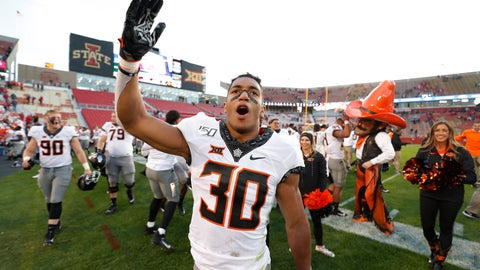 <p>               Oklahoma State running back Chuba Hubbard blows a kiss to the Oklahoma State fans after their 34-27 win over Iowa State after an NCAA college football game, Saturday, Oct. 26, 2019, in Ames, Iowa. (AP Photo/Matthew Putney)             </p>