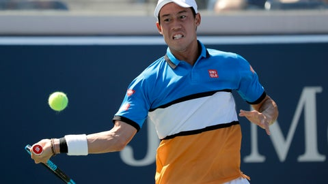 """<p>               FILE - In this Aug. 30, 2019, file photo, Kei Nishikori, of Japan, returns a shot to Alex de Minaur, of Australia, during the third round of the U.S. Open tennis championships n New York. Nishikori, the 2014 U.S. Open runner-up, will have season-ending surgery on his right elbow. Nishikori's manager, Olivier van Lindonk, says in an email sent to reporters on Monday, Oct. 21, 2019, that the Japanese star will have """"a small procedure removing two small bone spurs"""" in the elbow. (AP Photo/Eduardo Munoz Alvarez, File)             </p>"""