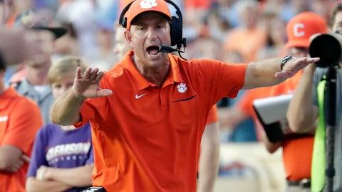 <p>               Clemson head coach Dabo Swinney yells to an official during the fourth quarter of an NCAA college football game against North Carolina in Chapel Hill, N.C., Saturday, Sept. 28, 2019. (AP Photo/Chris Seward)             </p>