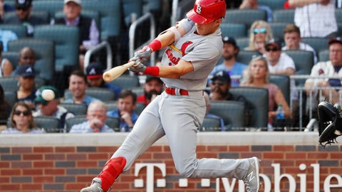 <p>               St. Louis Cardinals' Tommy Edman doubles to score teammates Marcell Ozuna and Yadier Molina during the first inning of Game 5 of their National League Division Series baseball game against the Atlanta Braves, Wednesday, Oct. 9, 2019, in Atlanta. (AP Photo/John Bazemore)             </p>