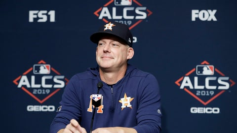 <p>               Houston Astros manager AJ Hinch answers questions during a news conference before Game 3 of baseball's American League Championship Series against the New York Yankees, Tuesday, Oct. 15, 2019, in New York. (AP Photo/Frank Franklin II)             </p>