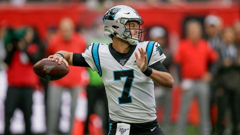 <p>               Carolina Panthers quarterback Kyle Allen (7) passes against the Tampa Bay Buccaneers during the second quarter of an NFL football game, Sunday, Oct. 13, 2019, at Tottenham Hotspur Stadium in London. (AP Photo/Tim Ireland)             </p>