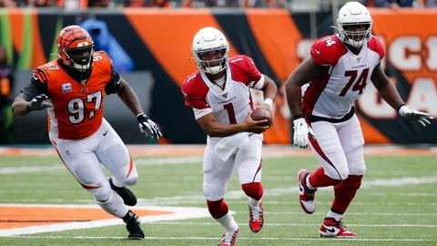 <p>               Arizona Cardinals quarterback Kyler Murray (1) runs the ball past Cincinnati Bengals defensive tackle Geno Atkins (97) in the second half of an NFL football game, Sunday, Oct. 6, 2019, in Cincinnati. (AP Photo/Frank Victores)             </p>