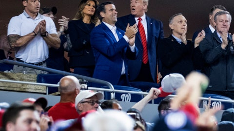 <p>               President Donald Trump, third from right, accompanied by first lady Melania Trump, second from left, and Republican lawmakers, reacts as the stadium boos when he is shown on the jumbo screen during a Salute to the Military during Game 5 of a baseball World Series game between the Houston Astros and the Washington Nationals at Nationals Park in Washington, Sunday, Oct. 27, 2019. Also Pictured are Rep. John Ratcliffe, R-Texas, center, and Rep. Mark Meadows, R-N.C., right. (AP Photo/Andrew Harnik)             </p>