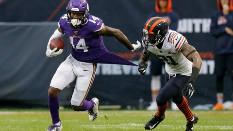 <p>               Minnesota Vikings wide receiver Stefon Diggs (14) runs with the ball as Chicago Bears strong safety Ha Ha Clinton-Dix (21) tugs on Diggs' jersey during the second half of an NFL football game Sunday, Sept. 29, 2019, in Chicago. The Bears won 16-6. (AP Photo/Charles Rex Arbogast)             </p>