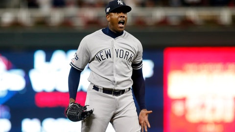 <p>               New York Yankees relief pitcher Aroldis Chapman celebrates after his team's 5-1 victory over the Minnesota Twins in Game 3 of a baseball American League Division Series, Monday, Oct. 7, 2019, in Minneapolis. (AP Photo/Jim Mone)             </p>