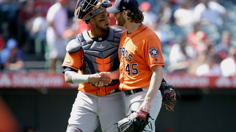 <p>               Houston Astros catcher Martin Maldonado, left, congratulates starting pitcher Gerrit Cole after the fifth inning of a baseball game against the Los Angeles Angels in Anaheim, Calif., Sunday, Sept. 29, 2019. (AP Photo/Alex Gallardo)             </p>