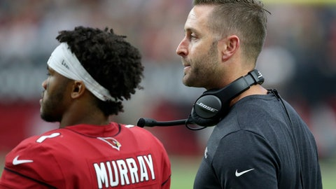 <p>               Arizona Cardinals head coach Kliff Kingsbury and quarterback Kyler Murray (1) watch during the second half of an NFL football game against the Seattle Seahawks, Sunday, Sept. 29, 2019, in Glendale, Ariz. (AP Photo/Ross D. Franklin)             </p>