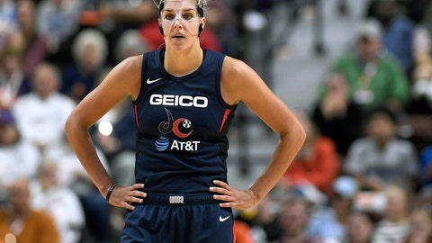 <p>               Washington Mystics' Elena Delle Donne stands on the court during the second half in Game 3 of basketball's WNBA Finals, Sunday, Oct. 6, 2019, in Uncasville, Conn. (AP Photo/Jessica Hill)             </p>