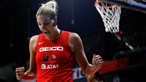 <p>               Washington Mystics forward Elena Delle Donne reacts after getting fouled while scoring in the second half of Game 1 of basketball's WNBA Finals against the Connecticut Sun, Sunday, Sept. 29, 2019, in Washington. Delle Donne contributed a team-high 22 points to Washington's 95-86 win. (AP Photo/Patrick Semansky)             </p>