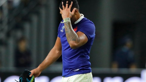 <p>               France's Sebastien Vahaamahina leaves the field after receiving a red card during the Rugby World Cup quarterfinal match at Oita Stadium in Oita, Japan, Sunday, Oct. 20, 2019. (AP Photo/Christophe Ena)             </p>