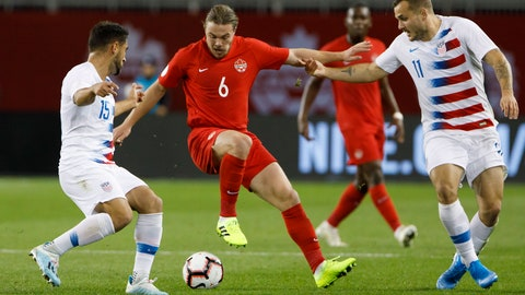 <p>               Canada midfielder Samuel Piette (6) tries to fend off U.S. midfielder Cristian Roldan (15) and forward Jordan Morris (11) during the first half of a CONCACAF Nations League soccer match Tuesday, Oct. 15, 2019, in Toronto. (Cole Burston/The Canadian Press via AP)             </p>