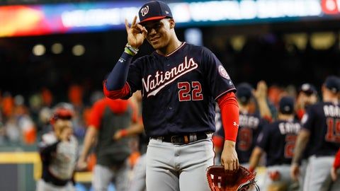 <p>               Washington Nationals left fielder Juan Soto celebrates after their win against the Houston Astros in Game 2 of the baseball World Series Thursday, Oct. 24, 2019, in Houston. The Nationals won 12-3 to take a 2-0 lead in the series. (AP Photo/Matt Slocum)             </p>