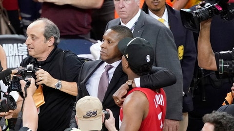<p>               FILE - In this June 13, 2019, file photo, Toronto Raptors President Masai Ujiri, center left, walks with his arm around guard Kyle Lowry after the Raptors defeated the Golden State Warriors in basketball's NBA Finals in Oakland, Calif. On Tuesday, Oct. 22, 2019, the Alameda County District Attorney's Office announced no criminal charges will be filed against Ujiri for an incident involving Ujiri and an Alameda County sheriff's deputy after Game 6 of the finals. (AP Photo/Tony Avelar, File)             </p>