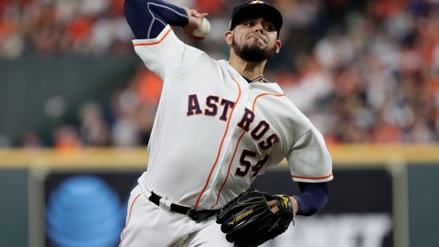 <p>               Houston Astros relief pitcher Roberto Osuna throws against the New York Yankees during the eighth inning in Game 2 of baseball's American League Championship Series Sunday, Oct. 13, 2019, in Houston. (AP Photo/Eric Gay)             </p>