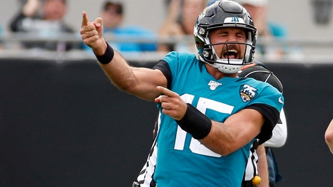 <p>               Jacksonville Jaguars quarterback Gardner Minshew II celebrates after running for a first down and drawing a penalty against the New York Jets during the second half of an NFL football game, Sunday, Oct. 27, 2019, in Jacksonville, Fla. (AP Photo/Stephen B. Morton)             </p>
