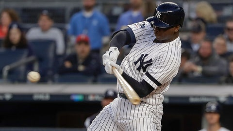 <p>               New York Yankees shortstop Didi Gregorius (18) connects for a grand slam home run against the Minnesota Twins during the third inning of Game 2 of an American League Division Series baseball game, Saturday, Oct. 5, 2019, in New York. (AP Photo/Frank Franklin II)             </p>