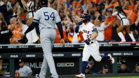 <p>               Houston Astros' Jose Altuve celebrates after a two-run walk-off, off New York Yankees pitcher Aroldis Chapman to win Game 6 of baseball's American League Championship Series against the New York Yankees Saturday, Oct. 19, 2019, in Houston. The Astros won 6-4 to win the series 4-2. (AP Photo/Matt Slocum)             </p>