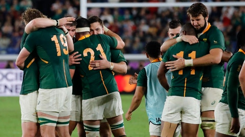 <p>               South Africa players celebrate after the Rugby World Cup semifinal at International Yokohama Stadium between Wales and South Africa in Yokohama, Japan, Sunday, Oct. 27, 2019. South Africa won 19-16. (AP Photo/Christophe Ena)             </p>