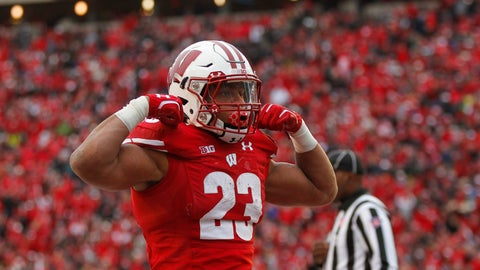 <p>               Wisconsin running back Jonathan Taylor celebrates a touchdown against Michigan State during the second half of an NCAA college football game Saturday, Oct. 12, 2019, in Madison, Wis. Wisconsin won 38-0. (AP Photo/Andy Manis)             </p>