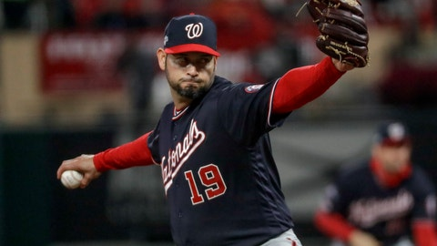 <p>               Washington Nationals starting pitcher Anibal Sanchez throws during the fifth inning of Game 1 of the baseball National League Championship Series against the St. Louis Cardinals Friday, Oct. 11, 2019, in St. Louis. (AP Photo/Mark Humphrey)             </p>