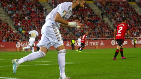 <p>               Real Madrid's Karim Benzema reacts during the Spanish La Liga soccer match between Mallorca and Real Madrid at the Iberostar Estadi in Palma de Mallorca, Spain, Saturday, Oct. 19, 2019. (AP Photo/Francisco Ubilla)             </p>