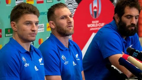 <p>               All Blacks captain Kieran Read, center, flanked by teammates Beauden Barrett, left, and Sam Whitelock answer questions during their press conference in Tokyo, Japan, Sunday, Oct. 27, 2019. The defending champions lost their Rugby World Cup semifinal to England 19-7 in Yokohama on Saturday, Oct. 26. (Mark Mitchell/New Zealand Herald via AP)             </p>