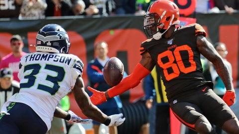 <p>               Seattle Seahawks free safety Tedric Thompson (33) intercepts pass for Cleveland Browns wide receiver Jarvis Landry (80) in the end zone during the first half of an NFL football game, Sunday, Oct. 13, 2019, in Cleveland. (AP Photo/Ron Schwane)             </p>