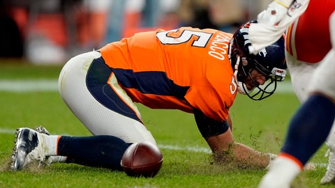 <p>               Denver Broncos quarterback Joe Flacco (5) falls after being sacked against the Kansas City Chiefs during the second half of an NFL football game, Thursday, Oct. 17, 2019, in Denver. (AP Photo/Jack Dempsey)             </p>