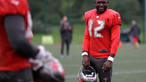 <p>               Tampa Bay Buccaneers wide receiver Chris Godwin smiles during an NFL practice session at Blackheath Rugby Football Club ground in London, Friday, Oct. 11, 2019. The Tampa Bay Buccaneers are preparing for an NFL regular season game against the Carolina Panthers in London on Sunday. (AP Photo/Kirsty Wigglesworth)             </p>