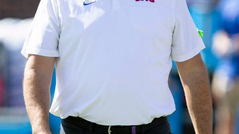 <p>               SMU head coach Sonny Dykes walks on the field before the start of an NCAA college football game against Temple in Dallas, Saturday, Oct. 19, 2019. (AP Photo/Sam Hodde)             </p>