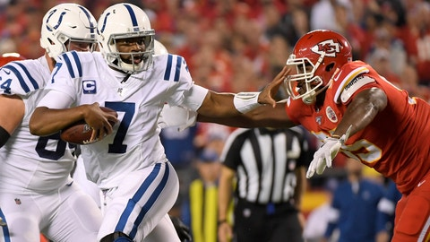 <p>               Indianapolis Colts quarterback Jacoby Brissett (7) runs away from pressure by Kansas City Chiefs defensive tackle Chris Jones, right, during the first half of an NFL football game in Kansas City, Mo., Sunday, Oct. 6, 2019. (AP Photo/Reed Hoffmann)             </p>