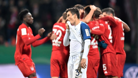 <p>               Bochum's Danilo Soares is dejected after Bayern's Thomas Mueller scored his team's second goal during the German soccer cup, DFB Pokal, second round match between VfL Bochum and Bayern Munich at the Vonovia Ruhrstadion stadium, in Bochum, Germany, Tuesday, Oct. 29, 2019. (AP Photo/Martin Meissner)             </p>