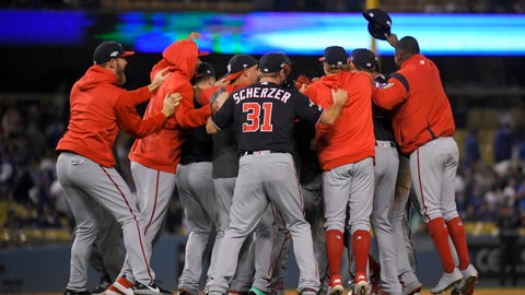 <p>               Washington Nationals celebrate after their 7-3 win in Game 5 of the baseball team's National League Division Series against the Los Angeles Dodgers on Wednesday, Oct. 9, 2019, in Los Angeles. (AP Photo/Mark J. Terrill)             </p>