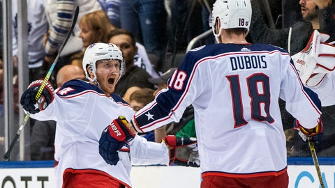 <p>               Columbus Blue Jackets center Gustav Nyquist, left, celebrates his game-winning overtime penalty shot with teammate Pierre-Luc Dubois in an NHL hockey game against the Toronto Maple Leafs in Toronto on Monday, Oct. 21, 2019. (Frank Gunn/The Canadian Press via AP)             </p>