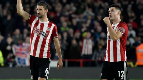 <p>               Sheffield United's Chris Basham, left, and John Egan celebrate after they won the English Premier League soccer match between Sheffield United and Arsenal at Bramall Lane in Sheffield, England, Monday, Oct. 21, 2019. (AP Photo/Rui Vieira)             </p>