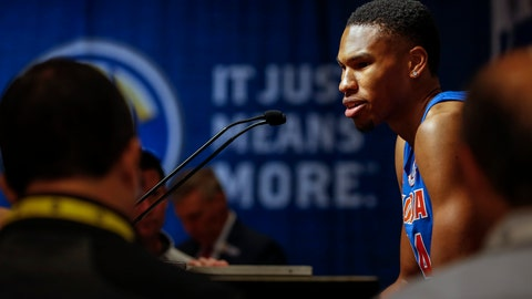 <p>               Florida's Kerry Blackshear Jr. speaks during the Southeastern Conference NCAA college basketball media day, Wednesday, Oct. 16, 2019, in Birmingham, Ala. (AP Photo/Butch Dill)             </p>