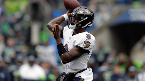 <p>               Baltimore Ravens quarterback Lamar Jackson passes against the Seattle Seahawks during the first half of an NFL football game, Sunday, Oct. 20, 2019, in Seattle. (AP Photo/John Froschauer)             </p>