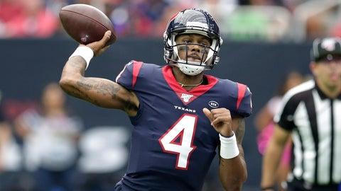 <p>               Houston Texans quarterback Deshaun Watson (4) throws against the Atlanta Falcons during the first half of an NFL football game Sunday, Oct. 6, 2019, in Houston. (AP Photo/Michael Wyke)             </p>