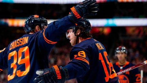 <p>               Edmonton Oilers left wing James Neal (18) celebrates his goal against the Detroit Red Wings with Alex Chiasson (39) during the second period of an NHL hockey game Friday, Oct. 18, 2019, in Edmonton, Alberta. (Codie McLachlan/The Canadian Press via AP)             </p>